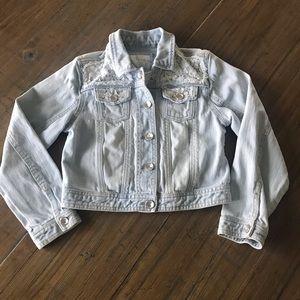 Justice girls size 8 light blue denim jean jacket